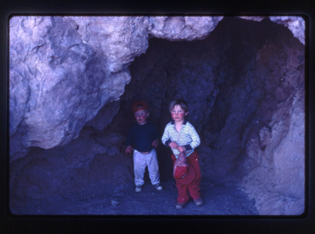 Zach and Caleb in cave Picachu Peak